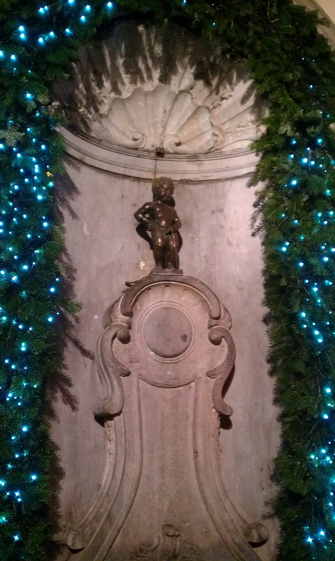 What would Christmas be without a decorated fountain of a boy peeing? Brussels, Belgium