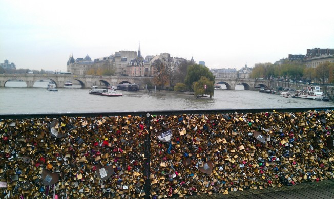 Love Locks on Des Arts Bridge