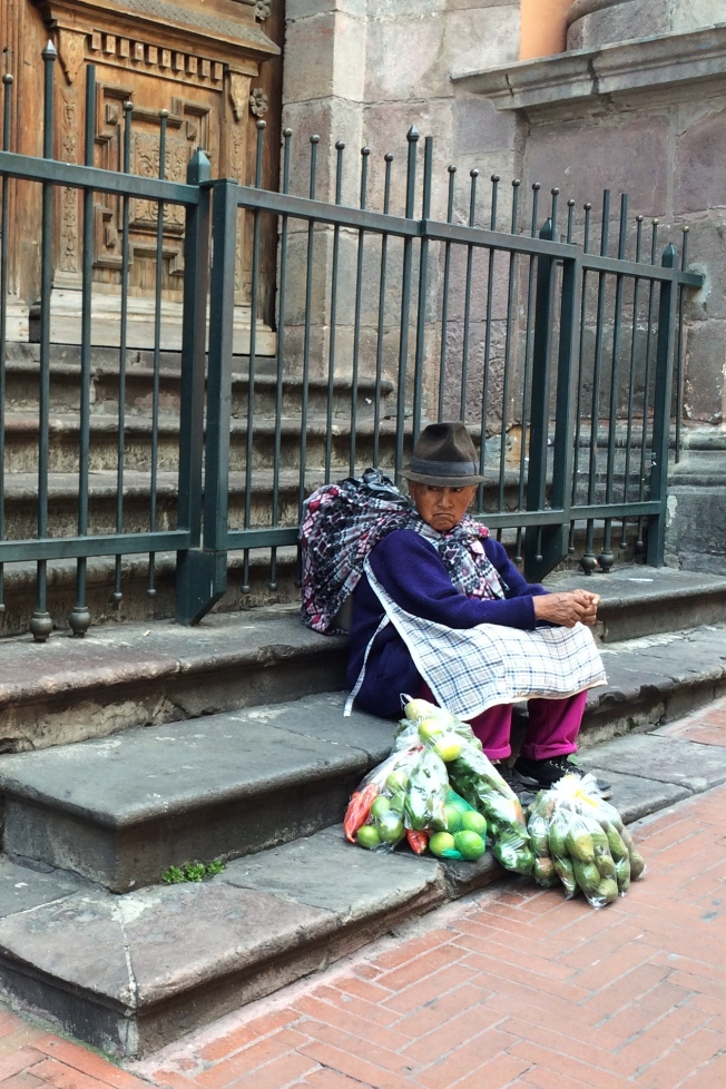We sat on the convent steps and rested with this colorful Ecuadorian woman.