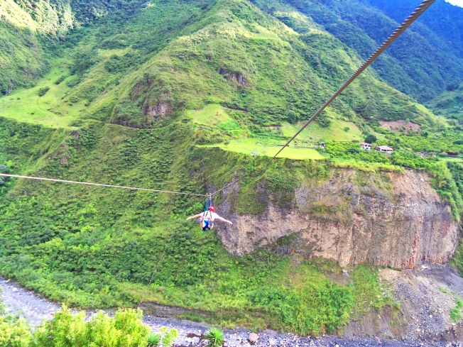 Zip lining in Banos, Ecuador